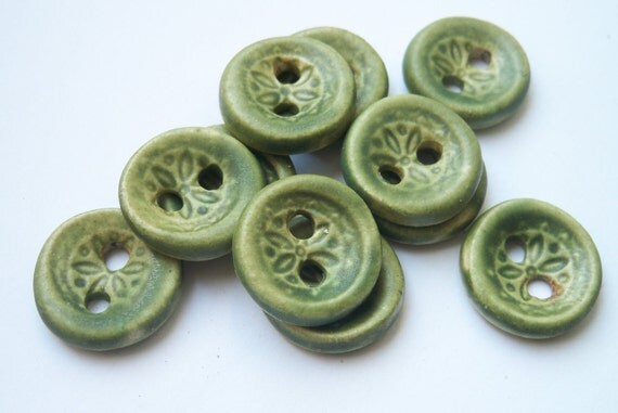 Lichen Green Ceramic Buttons