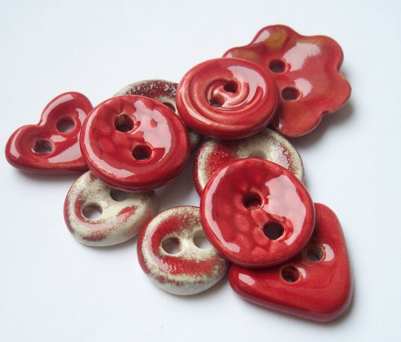 A Mix of Red Ceramic Buttons