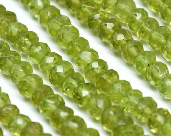 Faceted Rondelle Beads, Perdiot 5 mm - AAA Pack of 20 pcs - 110225-05