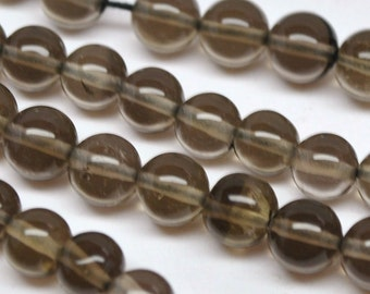 Round Beads, Smokey Topaz - 5- mm - 14'' STRAND - AAA - 110301-02