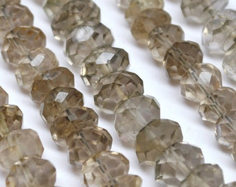 Faceted Rondelle Beads, Smokey Topaz  8 mm - AAA 14'' STRAND - 110301-04