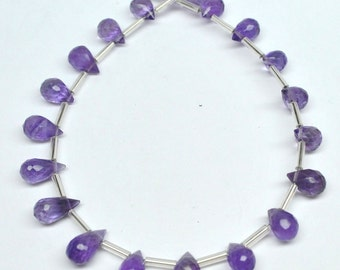 Drop Briolettes Beads, Amethyst - 8-10 mm - AAA 20 pcs - 110323-06