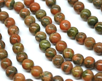 Natural Unakite Round Beads - 14'' STRAND - 5-6 mm - 110429-02