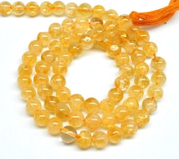 Round Beads, Mandarine Citrine - 4 mm - 15'' STRAND - 110323-01