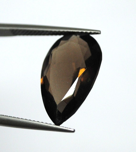 Faceted Smokey Quartz, Pear Cut  - 19.8 x 12.0 x 6.9 mm - 9.9 ct - 110919-02