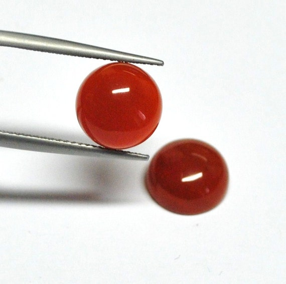 Carnelian Agate Round Cabochons - Match Pair - 10.0 x 5.1 mm - 7.9 ct - 120405-20