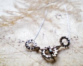 Choker Silver Necklace with Three Circle and Metal wire covered with Silver Nylon