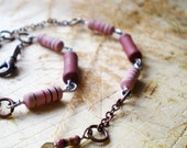 Bronze Chain Anklet - Strawberry Anklet - Two in One: Chain Bracelet