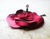 Poppy Fiber Flower Pin - Red Poppy Satin Flower Pin