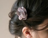 Reserve for Annie Water Lily Fiber Flower Pin - Lilac Satin Flower Pin - Wedding Flower Hair