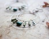 Green Hoop Earrings - Hand Forged Metal Earrings - Geometric Earrings