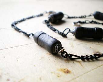 Men Chian, Black Choker Men Necklace, Black Chain Necklace,Black Chain and Black Resistor