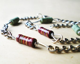 Men Chain, Red and Green Choker, Men Necklace, Steel Chain Necklace, Steel Chain, Green and Red Resistor
