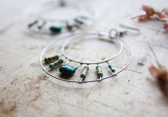 Green Hoop Earrings - Hand Forged Metal Earrings - Geometric Earrings