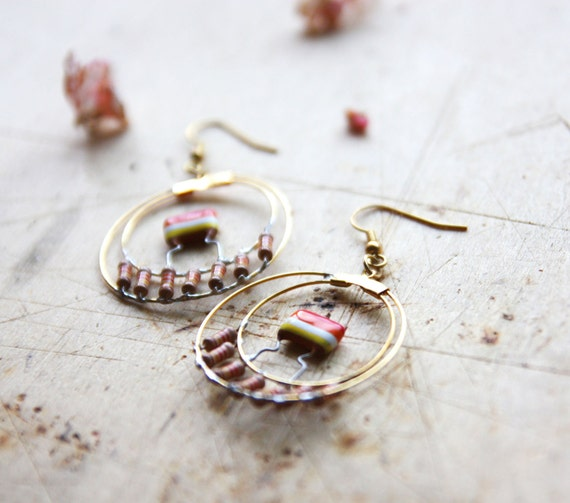 Seventies Orange Hoop Earrings - Hand Forged Metal Earrings - Gold Earrings