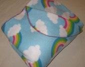 Possum Pouch Fleece Blanket w/Foot and Leg Pouch Featuring a Rainbow & Clouds Motif (size long)