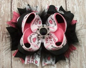 Paris Bow Tres Chic Bow Fluffy Stacked Boutique Bow with Rhinestone Center
