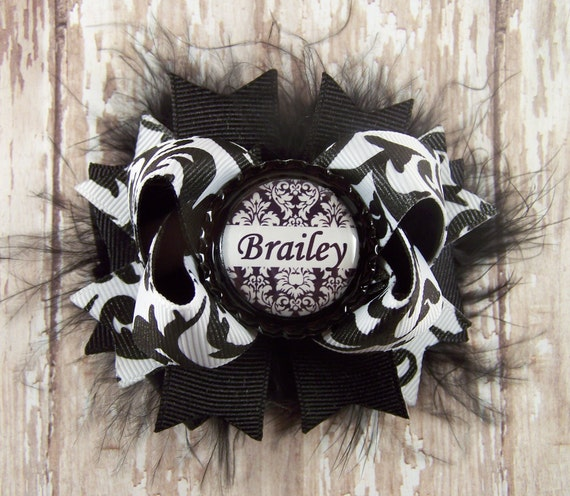 Black and White Damask Bow Fluffy Boutique Bow with Personalized/Custom Bottle Cap Center