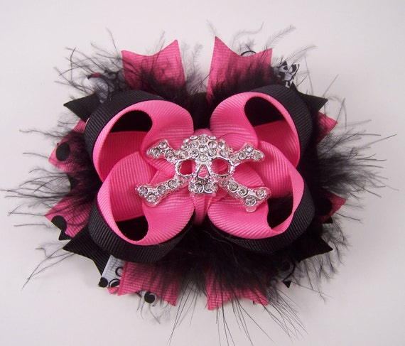 Hot Pink and Black Rocker Skull Bow Fuffy Boutique Bow with Skull Rhinestone Center