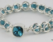 Capri - Sterling Silver and Indicolite Swarovski Crystal Chainmaille Bracelet