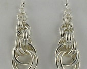 Graduated Double Spiral Sterling Silver Chainmaille Earrings
