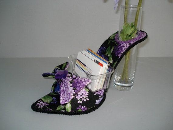 high heel business card holder and bud vase