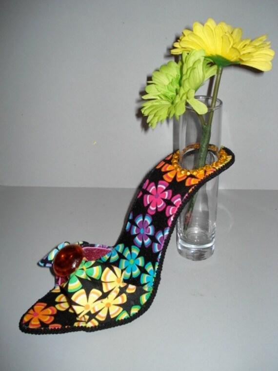 Mid 60's print high heel bud vase