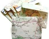 Handmade Map Envelopes, set of 6 mini envelopes