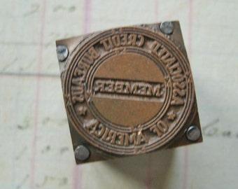 Vintage Printer's Block Copperplate ACB of America