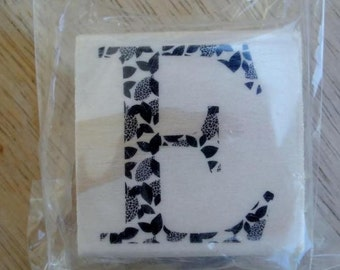 Capital E Rubber Stamp  Leaf Pattern