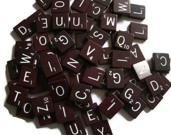 Scrabble Tiles Dark Maroon  set of 25 random wood tiles