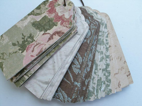 Vintage style tags, shabby chic, scallop top tags, set of 50