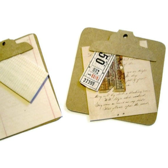 3D Scrapbook Embellishment Handmade Clipboards