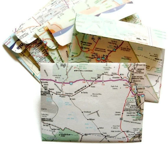 Handmade Map Envelopes, set of 6 mini envelopes