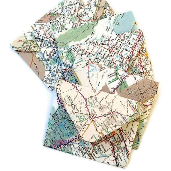 Handmade Map Envelopes, set of 6 envelopes