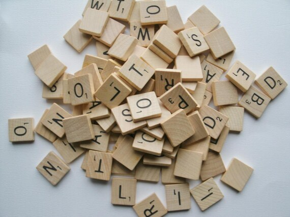 Vintage Wood Scrabble tiles set of 98 tiles 1976