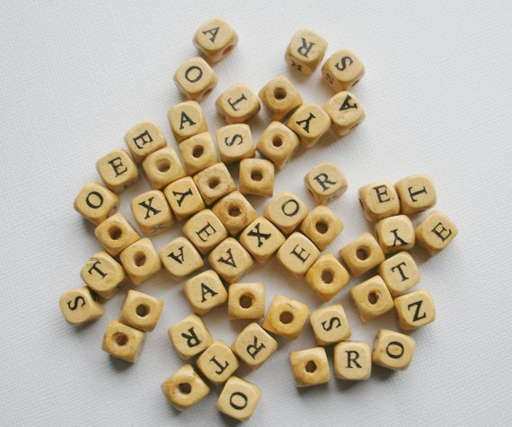 Wood Alphabet Beads set of 56 beads