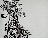 RESERVED FOR Torreclark Peacock Drawing Ink Tattoo Design COMMISSIONED Tattoo in Black & White