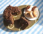 Dollhouse Food Devil's Food Cake Board- 1/12 scale
