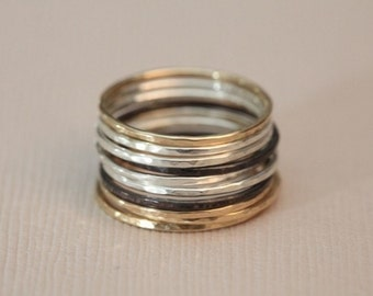 stackable ring, stacking ring set, skinny ring, hammered ring - set of 10 mix metal rings
