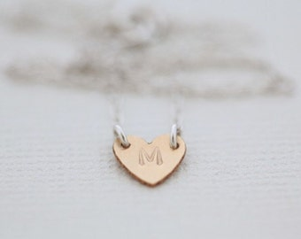heart necklace, dainty necklace, initial necklace - gold filled heart sterling silver chain