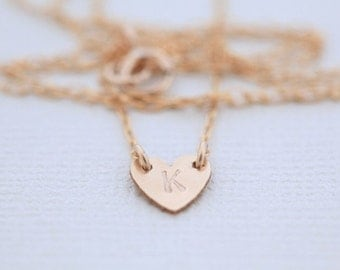 initial necklace, dainty necklace, heart necklace, monogram necklace - gold necklace