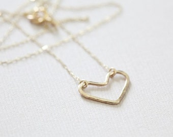 gold heart necklace, dainty necklace, open heart necklace - gold filled