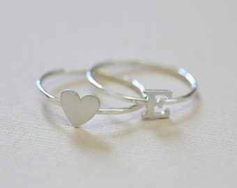 initial ring and heart ring set, everyday rings - sterling silver stackable rings