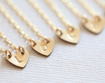 bridesmaid necklaces, bridesmaid gift set, wedding favors, initial heart necklaces for personalized bridesmaid gifts - gold filled