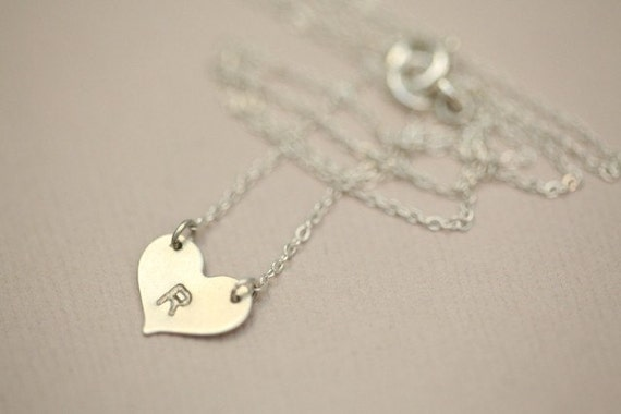 Holiday gift deal - Small initial heart sterling silver necklace - MADE TO ORDER