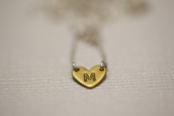 For your bridesmaid - Initial tiny heart necklace by hand stamp - MADE TO ORDER
