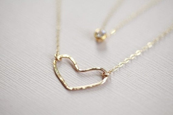 gold layered necklace, layered necklace set, open heart necklace, CZ dainty necklace - gold filled