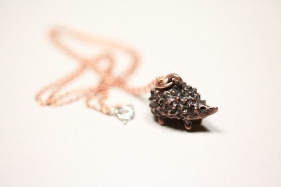 Hedgehog pendant necklace - antique copper