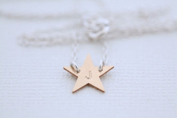 Star necklace, dainty necklace, personalized necklace, initial necklace - gold star pendant with sterling silver chain